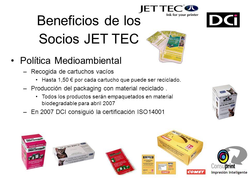Beneficios de los Socios JET TEC Política Medioambiental –Recogida de cartuchos vacíos Hasta 1,50 por cada cartucho que puede ser reciclado.