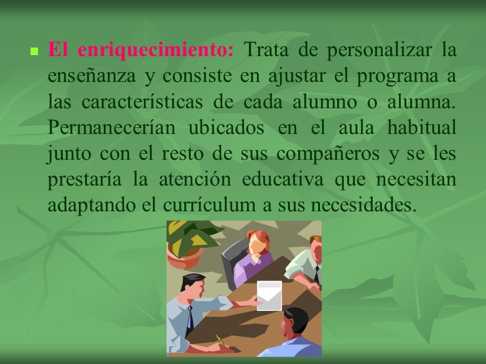 El enriquecimiento: Trata de personalizar la enseñanza y consiste en ajustar el programa a las características de cada alumno o alumna. Permanecerían