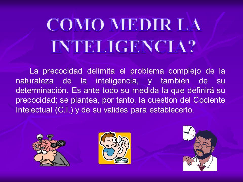 La precocidad delimita el problema complejo de la naturaleza de la inteligencia, y también de su determinación. Es ante todo su medida la que definirá