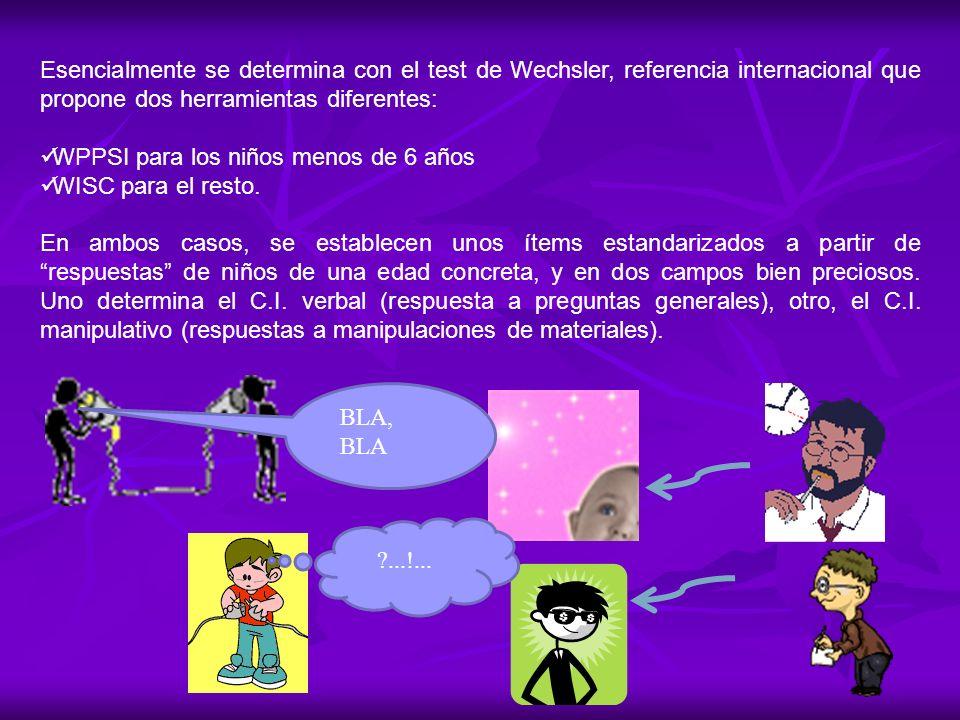 Esencialmente se determina con el test de Wechsler, referencia internacional que propone dos herramientas diferentes: WPPSI para los niños menos de 6
