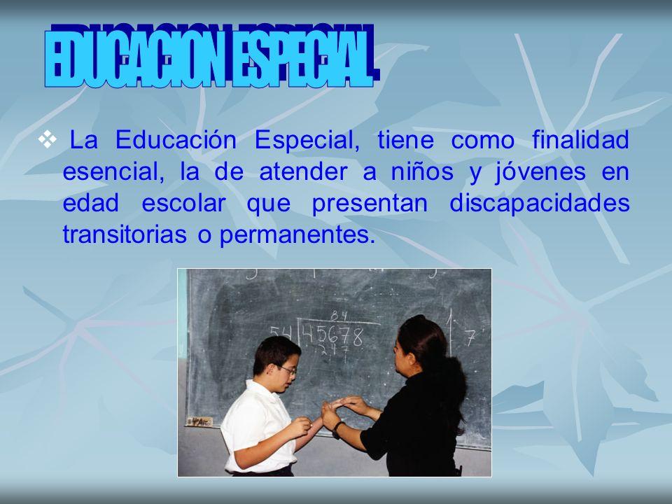 La Educación Especial, tiene como finalidad esencial, la de atender a niños y jóvenes en edad escolar que presentan discapacidades transitorias o perm