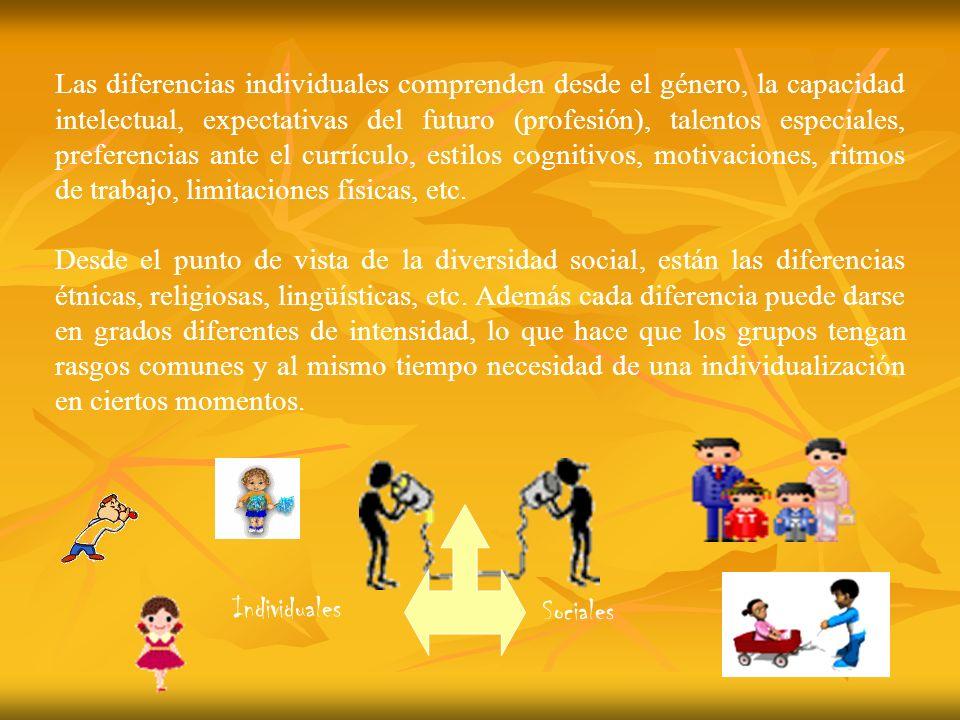 Las diferencias individuales comprenden desde el género, la capacidad intelectual, expectativas del futuro (profesión), talentos especiales, preferenc