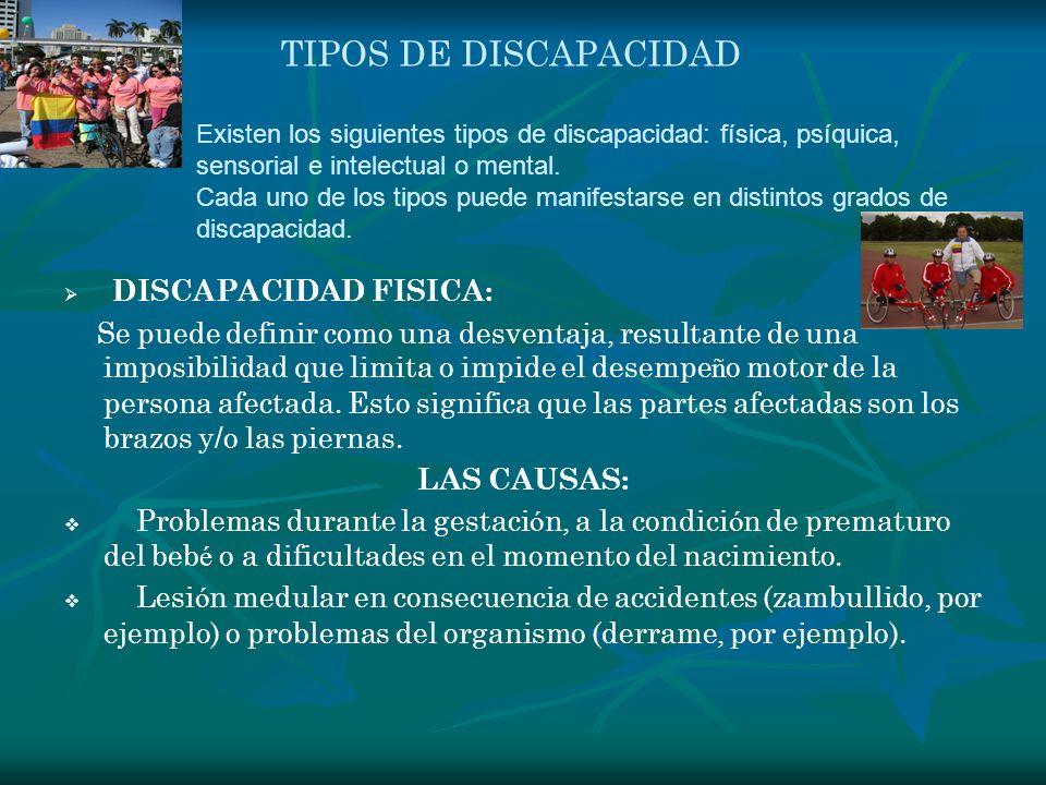 TIPOS DE DISCAPACIDAD DISCAPACIDAD FISICA: Se puede definir como una desventaja, resultante de una imposibilidad que limita o impide el desempe ñ o mo