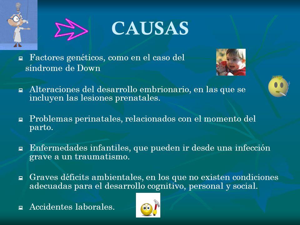 CAUSAS Factores gen é ticos, como en el caso del s í ndrome de Down Alteraciones del desarrollo embrionario, en las que se incluyen las lesiones prena