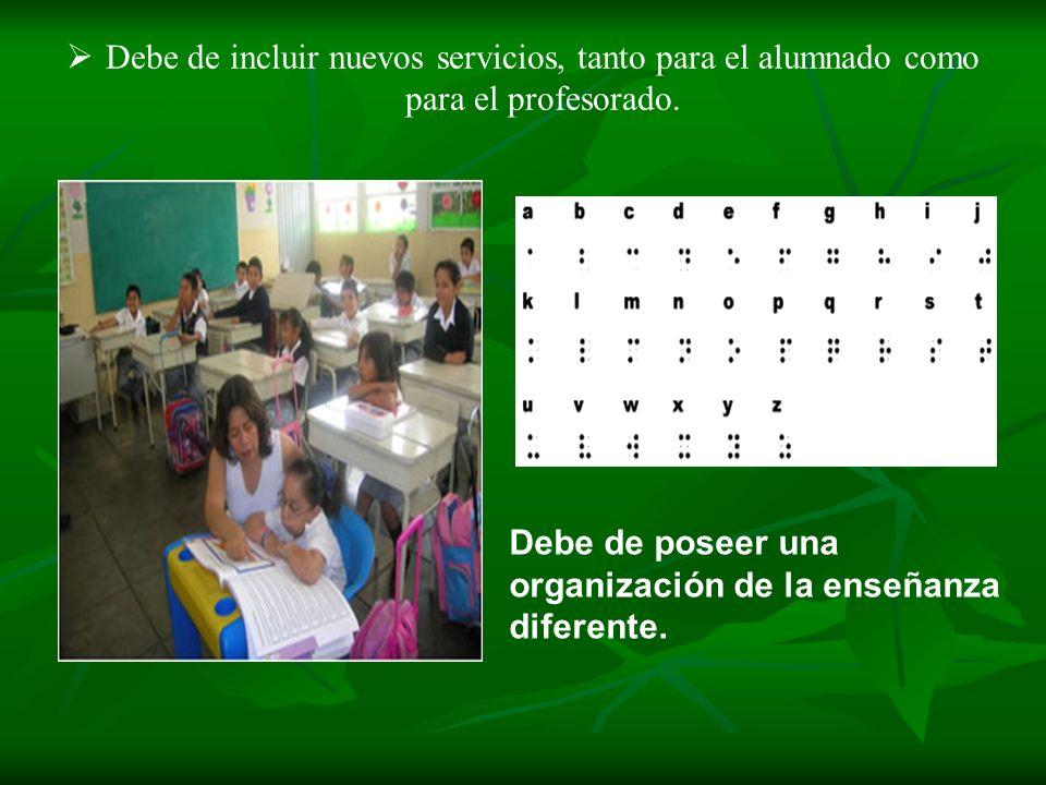Debe de incluir nuevos servicios, tanto para el alumnado como para el profesorado. Debe de poseer una organización de la enseñanza diferente.