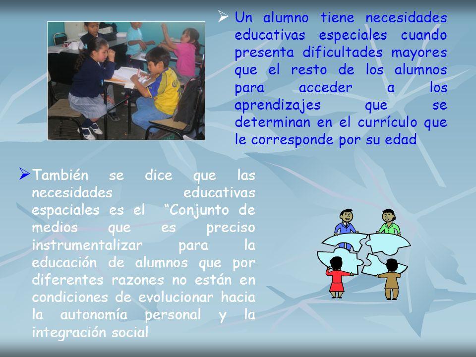 Un alumno tiene necesidades educativas especiales cuando presenta dificultades mayores que el resto de los alumnos para acceder a los aprendizajes que