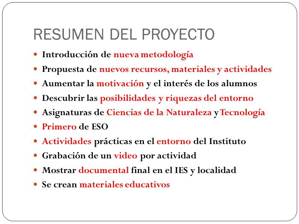 RESUMEN DEL PROYECTO Introducción de nueva metodología Propuesta de nuevos recursos, materiales y actividades Aumentar la motivación y el interés de l