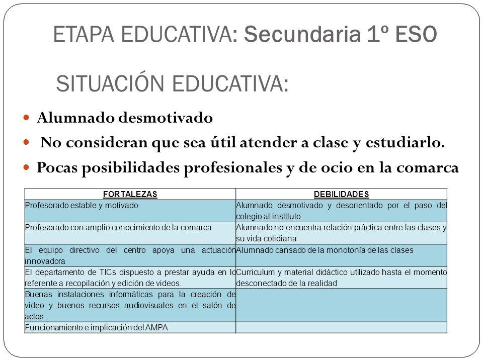 ETAPA EDUCATIVA: Secundaria 1º ESO Alumnado desmotivado No consideran que sea útil atender a clase y estudiarlo. Pocas posibilidades profesionales y d