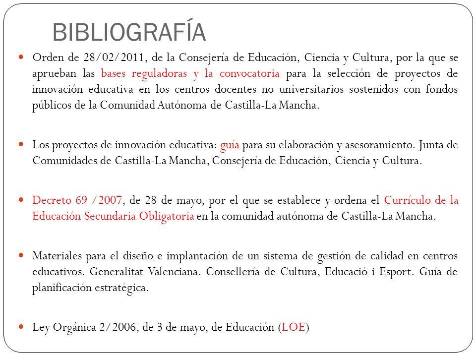 BIBLIOGRAFÍA Orden de 28/02/2011, de la Consejería de Educación, Ciencia y Cultura, por la que se aprueban las bases reguladoras y la convocatoria par