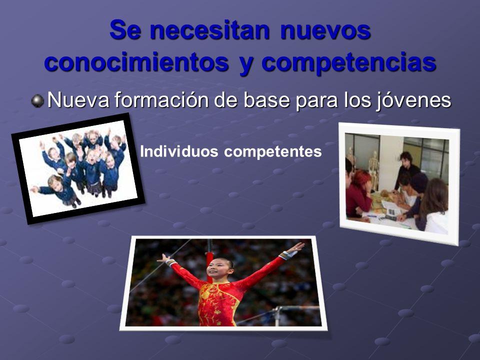 Se necesitan nuevos conocimientos y competencias Nueva formación de base para los jóvenes Individuos competentes