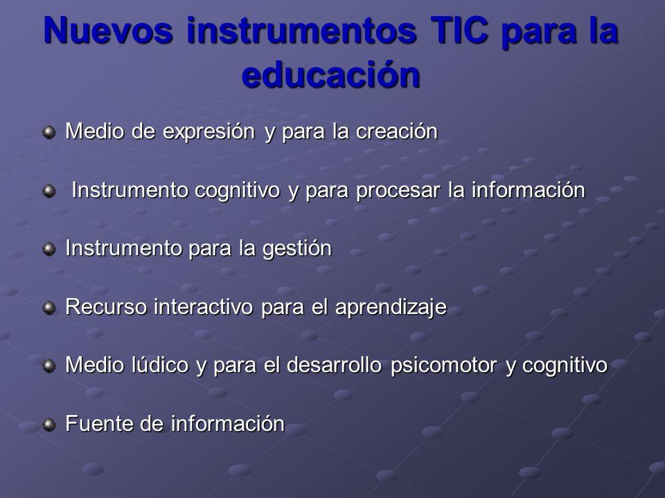 Nuevos instrumentos TIC para la educación Medio de expresión y para la creación Instrumento cognitivo y para procesar la información Instrumento cogni