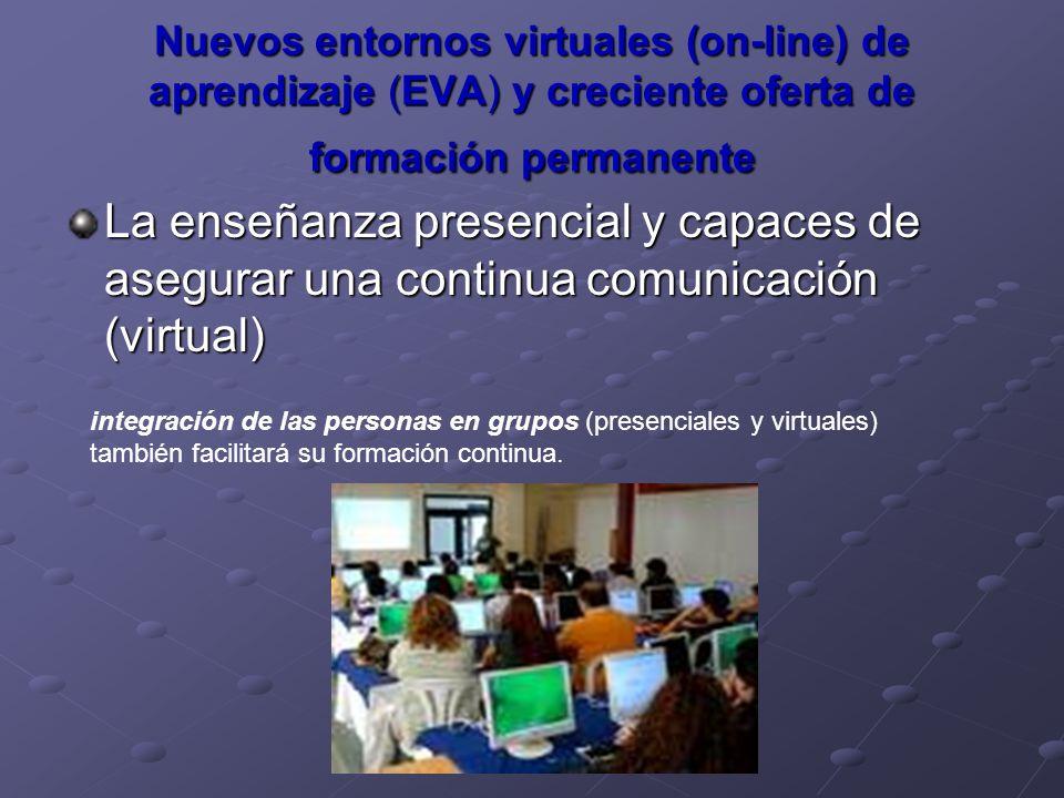 Nuevos entornos virtuales (on-line) de aprendizaje (EVA) y creciente oferta de formación permanente La enseñanza presencial y capaces de asegurar una
