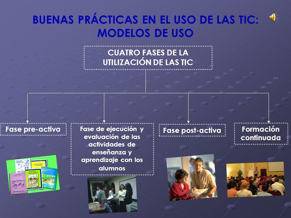 BUENAS PRÁCTICAS EN EL USO DE LAS TIC: MODELOS DE USO CUATRO FASES DE LA UTILIZACIÓN DE LAS TIC Fase pre-activa Fase de ejecución y evaluación de las