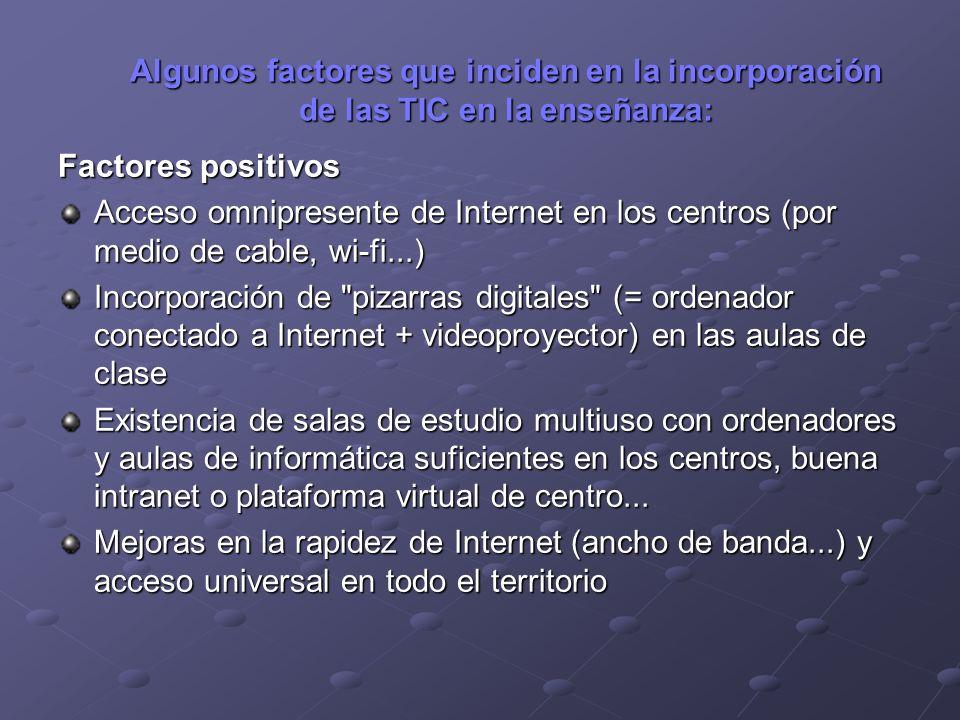 Algunos factores que inciden en la incorporación de las TIC en la enseñanza: Factores positivos Acceso omnipresente de Internet en los centros (por me