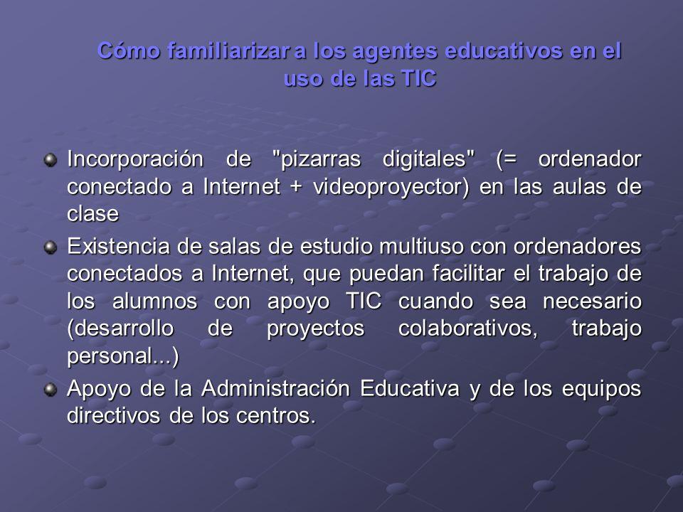 Cómo familiarizar a los agentes educativos en el uso de las TIC Incorporación de
