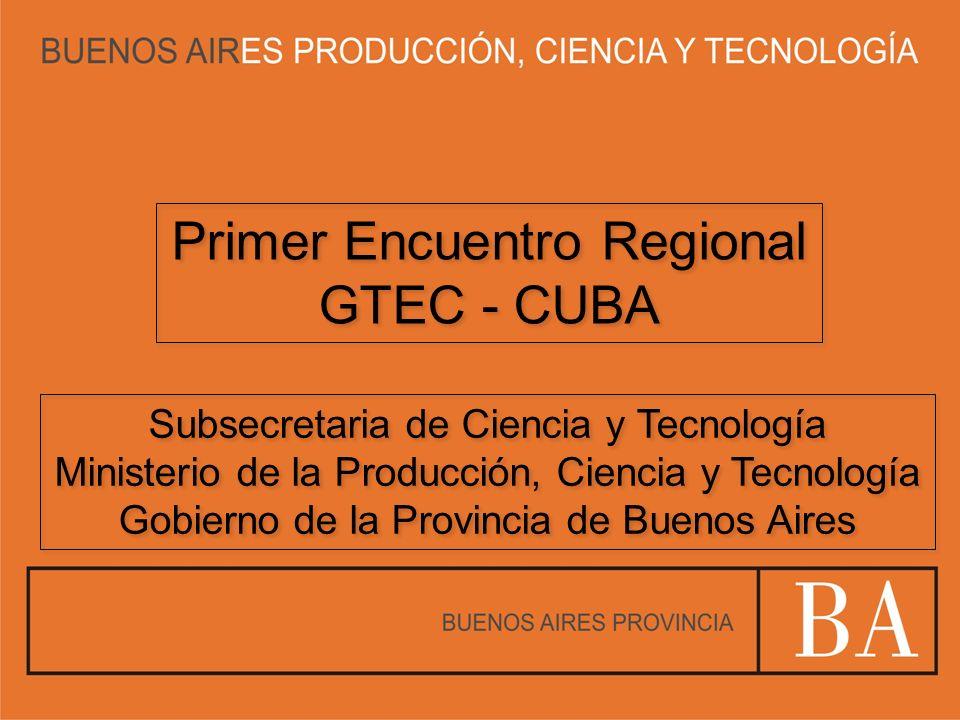 Primer Encuentro Regional GTEC - CUBA Primer Encuentro Regional GTEC - CUBA Subsecretaria de Ciencia y Tecnología Ministerio de la Producción, Ciencia