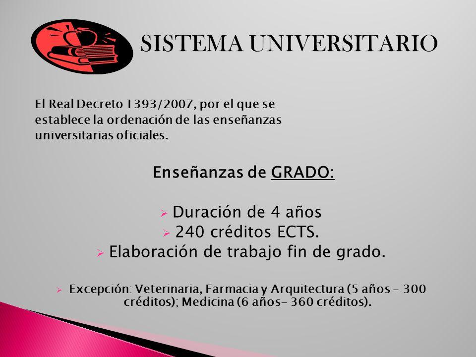 El Real Decreto 1393/2007, por el que se establece la ordenación de las enseñanzas universitarias oficiales. Enseñanzas de GRADO: Duración de 4 años 2