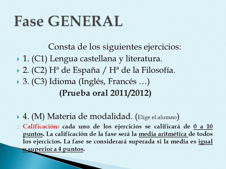 Consta de los siguientes ejercicios: 1. (C1) Lengua castellana y literatura. 2. (C2) Hª de España / Hª de la Filosofía. 3. (C3) Idioma (Inglés, Francé