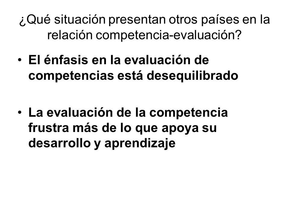 ¿Qué situación presentan otros países en la relación competencia-evaluación? El énfasis en la evaluación de competencias está desequilibrado La evalua