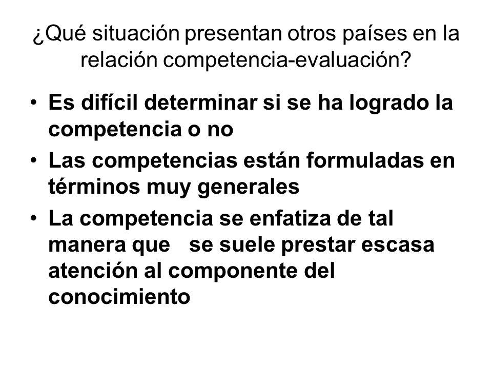¿Qué situación presentan otros países en la relación competencia-evaluación? Es difícil determinar si se ha logrado la competencia o no Las competenci