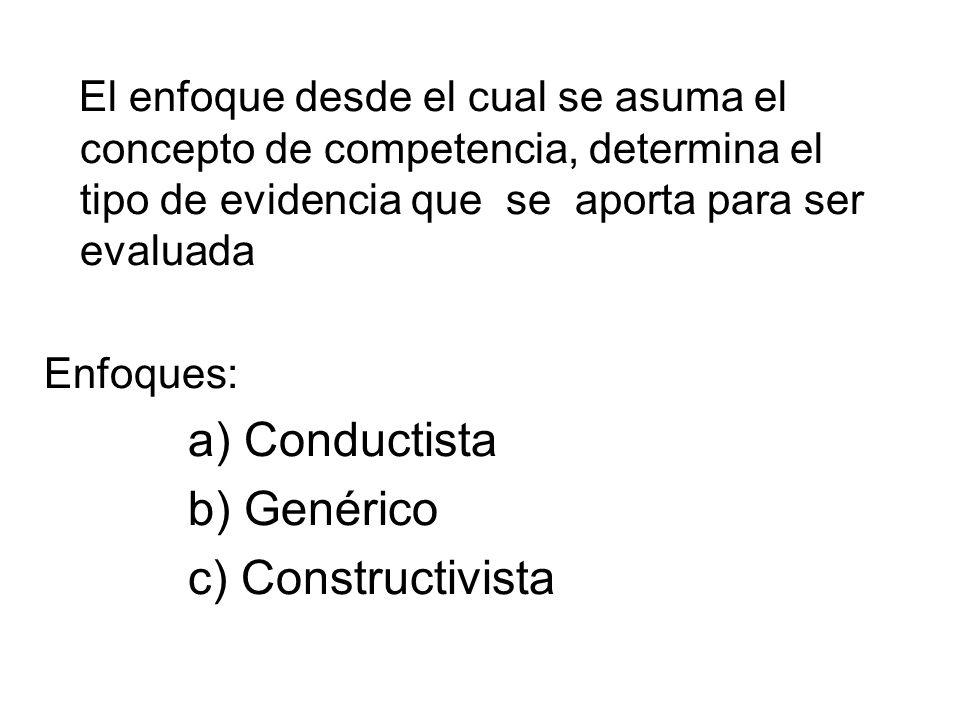 El enfoque desde el cual se asuma el concepto de competencia, determina el tipo de evidencia que se aporta para ser evaluada Enfoques: a) Conductista