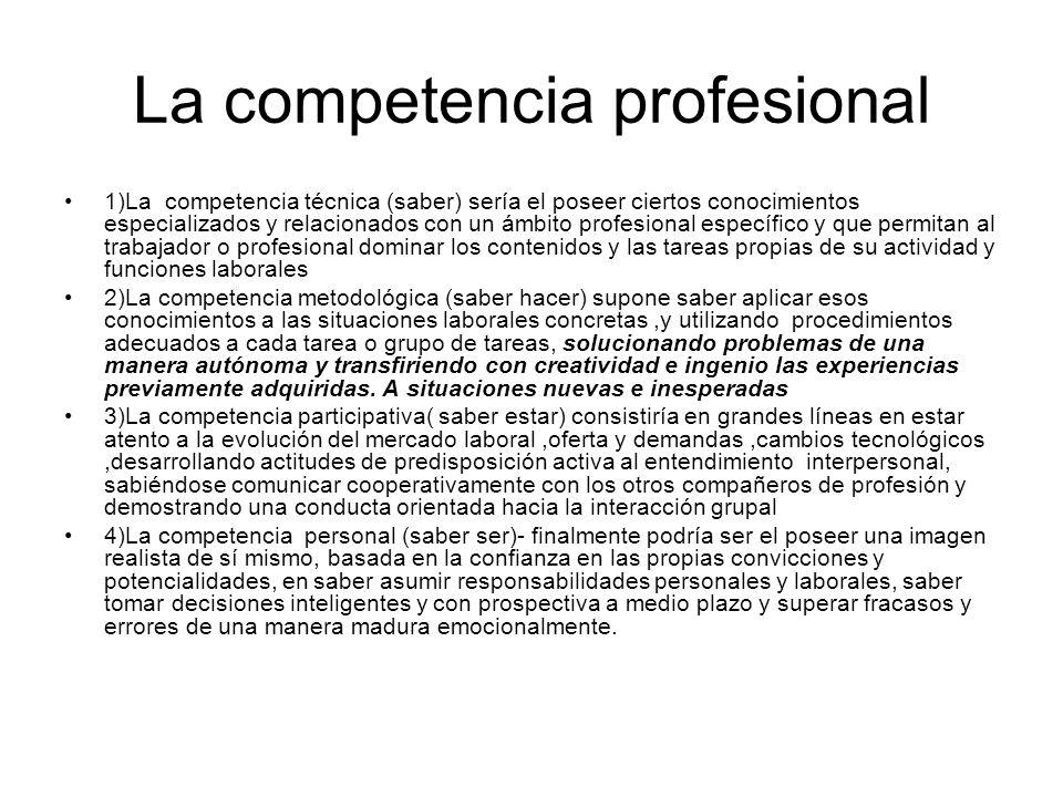 La competencia profesional 1)La competencia técnica (saber) sería el poseer ciertos conocimientos especializados y relacionados con un ámbito profesio