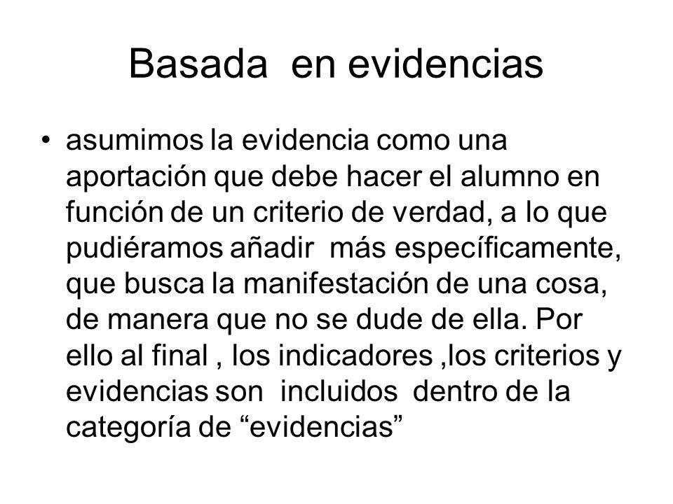 Basada en evidencias asumimos la evidencia como una aportación que debe hacer el alumno en función de un criterio de verdad, a lo que pudiéramos añadi