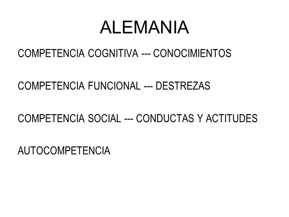 ALEMANIA COMPETENCIA COGNITIVA --- CONOCIMIENTOS COMPETENCIA FUNCIONAL --- DESTREZAS COMPETENCIA SOCIAL --- CONDUCTAS Y ACTITUDES AUTOCOMPETENCIA