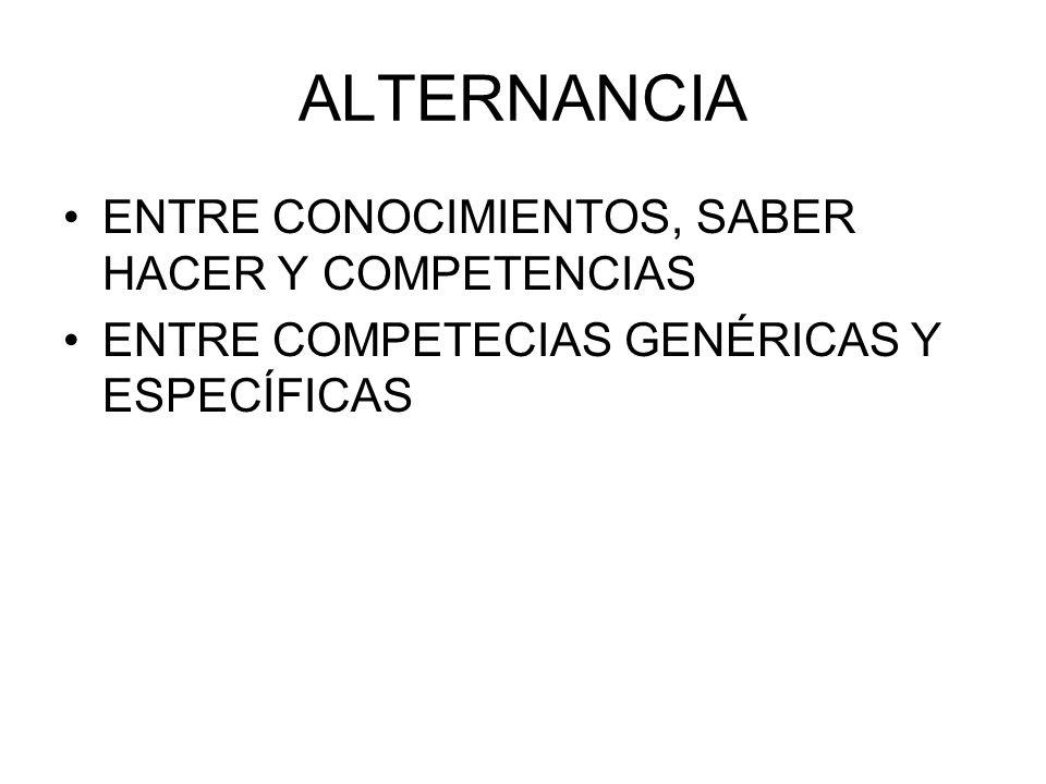 ALTERNANCIA ENTRE CONOCIMIENTOS, SABER HACER Y COMPETENCIAS ENTRE COMPETECIAS GENÉRICAS Y ESPECÍFICAS