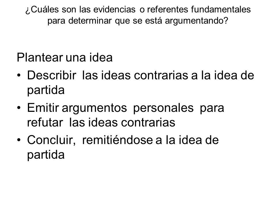 ¿Cuáles son las evidencias o referentes fundamentales para determinar que se está argumentando? Plantear una idea Describir las ideas contrarias a la