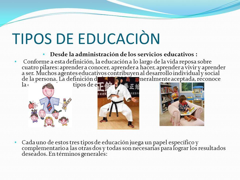 TIPOS DE EDUCACIÒN Desde la administración de los servicios educativos : Conforme a esta definición, la educación a lo largo de la vida reposa sobre c