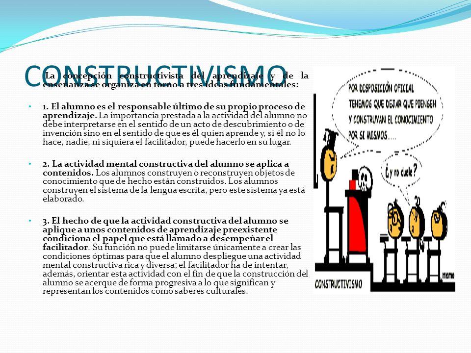 CONSTRUCTIVISMO La concepción constructivista del aprendizaje y de la enseñanza se organiza en torno a tres ideas fundamentales: 1. El alumno es el re