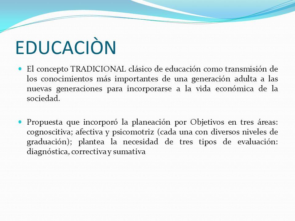 EDUCACIÒN El concepto TRADICIONAL clásico de educación como transmisión de los conocimientos más importantes de una generación adulta a las nuevas gen
