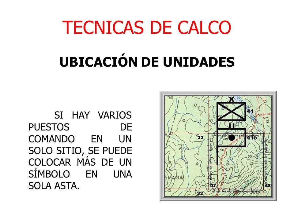 TECNICAS DE CALCO UBICACIÓN DE UNIDADES SI HAY VARIOS PUESTOS DE COMANDO EN UN SOLO SITIO, SE PUEDE COLOCAR MÁS DE UN SÍMBOLO EN UNA SOLA ASTA.