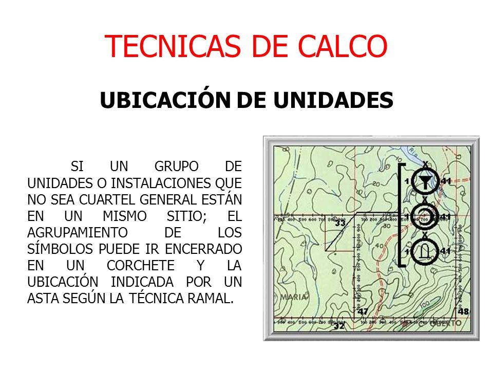 TECNICAS DE CALCO UBICACIÓN DE UNIDADES SI UN GRUPO DE UNIDADES O INSTALACIONES QUE NO SEA CUARTEL GENERAL ESTÁN EN UN MISMO SITIO; EL AGRUPAMIENTO DE