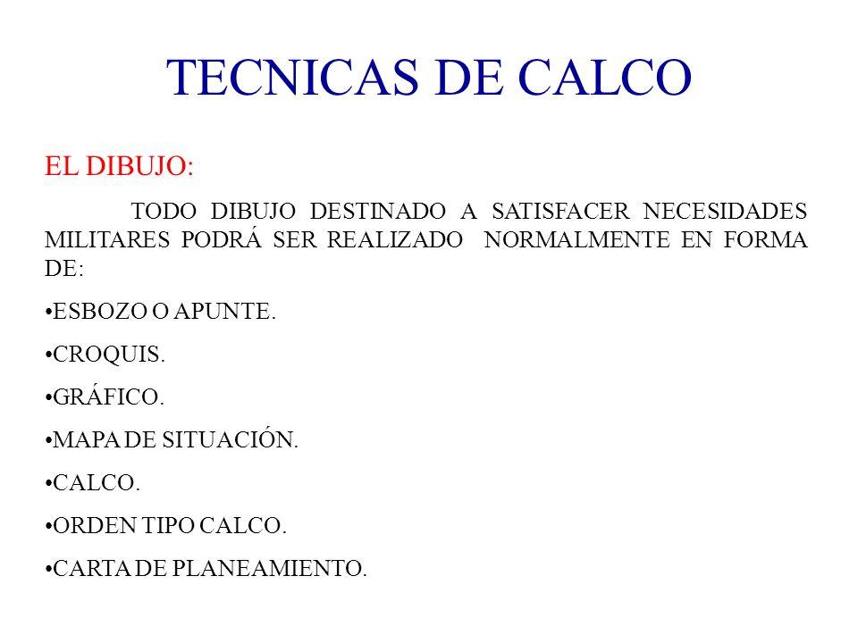 TECNICAS DE CALCO EL DIBUJO: TODO DIBUJO DESTINADO A SATISFACER NECESIDADES MILITARES PODRÁ SER REALIZADO NORMALMENTE EN FORMA DE: ESBOZO O APUNTE. CR