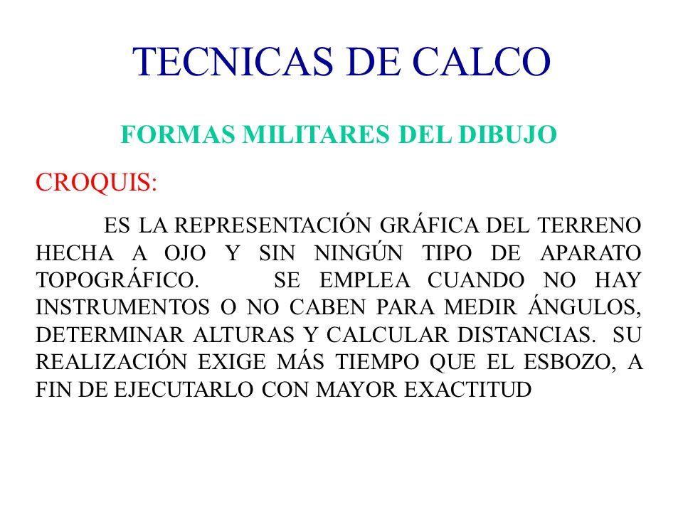 TECNICAS DE CALCO FORMAS MILITARES DEL DIBUJO CROQUIS: ES LA REPRESENTACIÓN GRÁFICA DEL TERRENO HECHA A OJO Y SIN NINGÚN TIPO DE APARATO TOPOGRÁFICO.