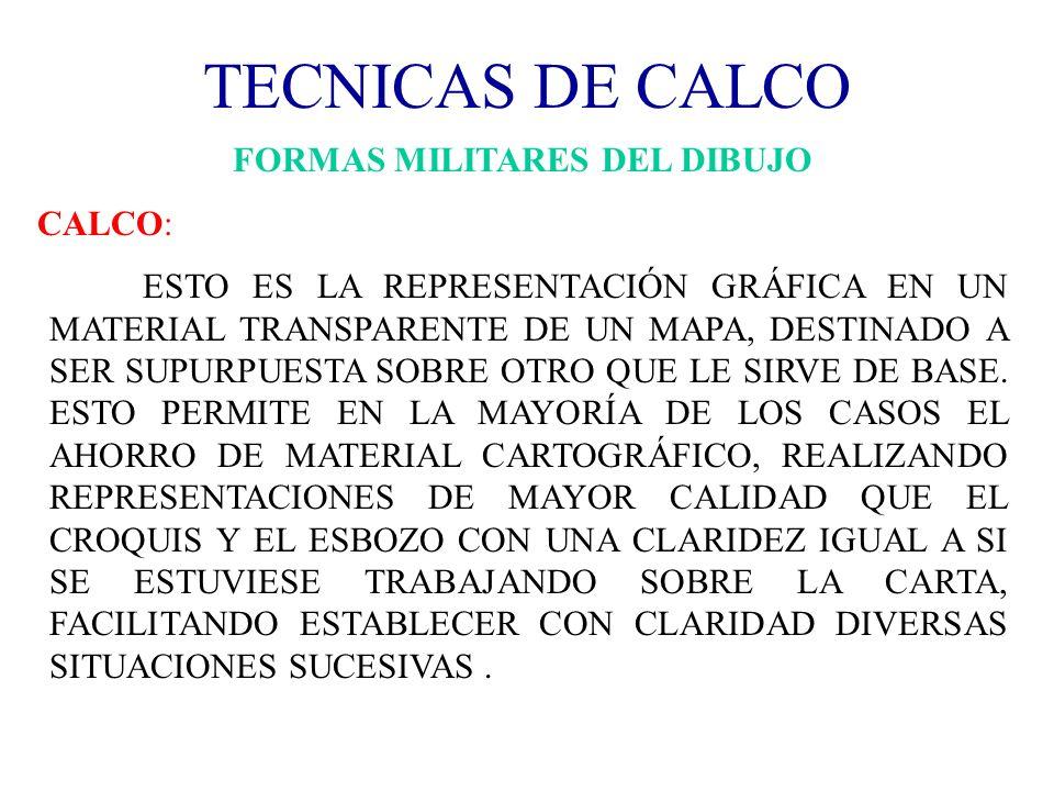TECNICAS DE CALCO FORMAS MILITARES DEL DIBUJO CALCO: ESTO ES LA REPRESENTACIÓN GRÁFICA EN UN MATERIAL TRANSPARENTE DE UN MAPA, DESTINADO A SER SUPURPU
