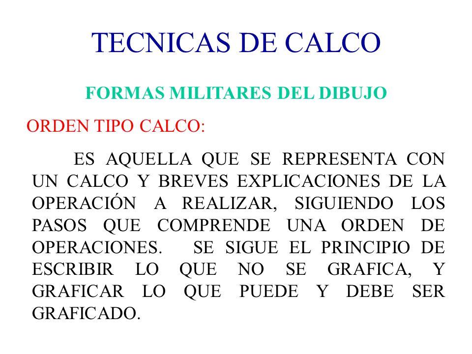 TECNICAS DE CALCO FORMAS MILITARES DEL DIBUJO ORDEN TIPO CALCO: ES AQUELLA QUE SE REPRESENTA CON UN CALCO Y BREVES EXPLICACIONES DE LA OPERACIÓN A REA