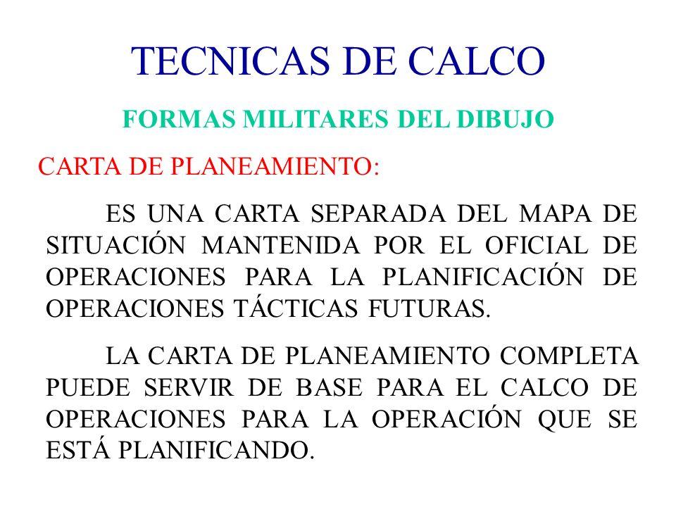 TECNICAS DE CALCO FORMAS MILITARES DEL DIBUJO CARTA DE PLANEAMIENTO: ES UNA CARTA SEPARADA DEL MAPA DE SITUACIÓN MANTENIDA POR EL OFICIAL DE OPERACION