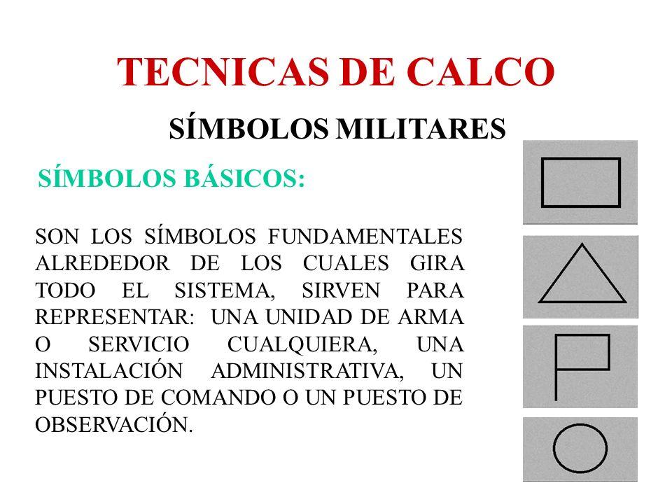 TECNICAS DE CALCO SÍMBOLOS MILITARES SÍMBOLOS BÁSICOS: SON LOS SÍMBOLOS FUNDAMENTALES ALREDEDOR DE LOS CUALES GIRA TODO EL SISTEMA, SIRVEN PARA REPRES