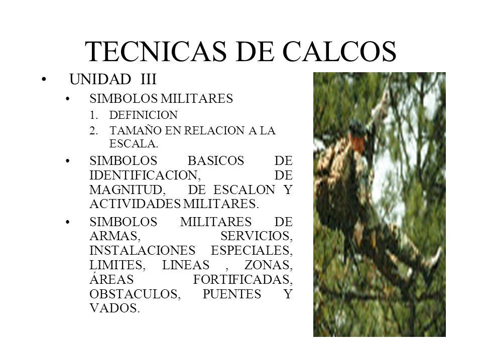 TECNICAS DE CALCOS UNIDAD III SIMBOLOS MILITARES 1.DEFINICION 2.TAMAÑO EN RELACION A LA ESCALA. SIMBOLOS BASICOS DE IDENTIFICACION, DE MAGNITUD, DE ES