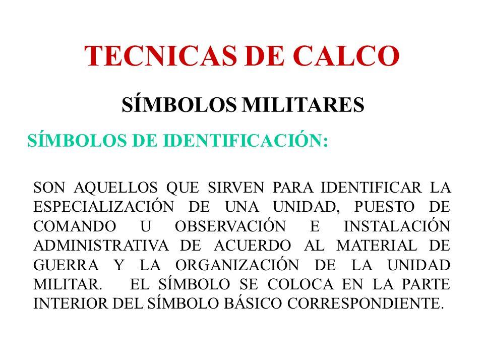 TECNICAS DE CALCO SÍMBOLOS MILITARES SÍMBOLOS DE IDENTIFICACIÓN: SON AQUELLOS QUE SIRVEN PARA IDENTIFICAR LA ESPECIALIZACIÓN DE UNA UNIDAD, PUESTO DE