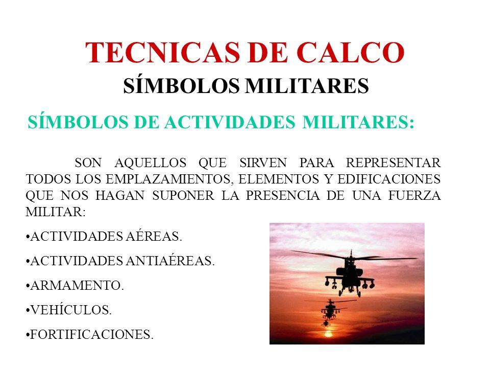 TECNICAS DE CALCO SÍMBOLOS MILITARES SÍMBOLOS DE ACTIVIDADES MILITARES: SON AQUELLOS QUE SIRVEN PARA REPRESENTAR TODOS LOS EMPLAZAMIENTOS, ELEMENTOS Y