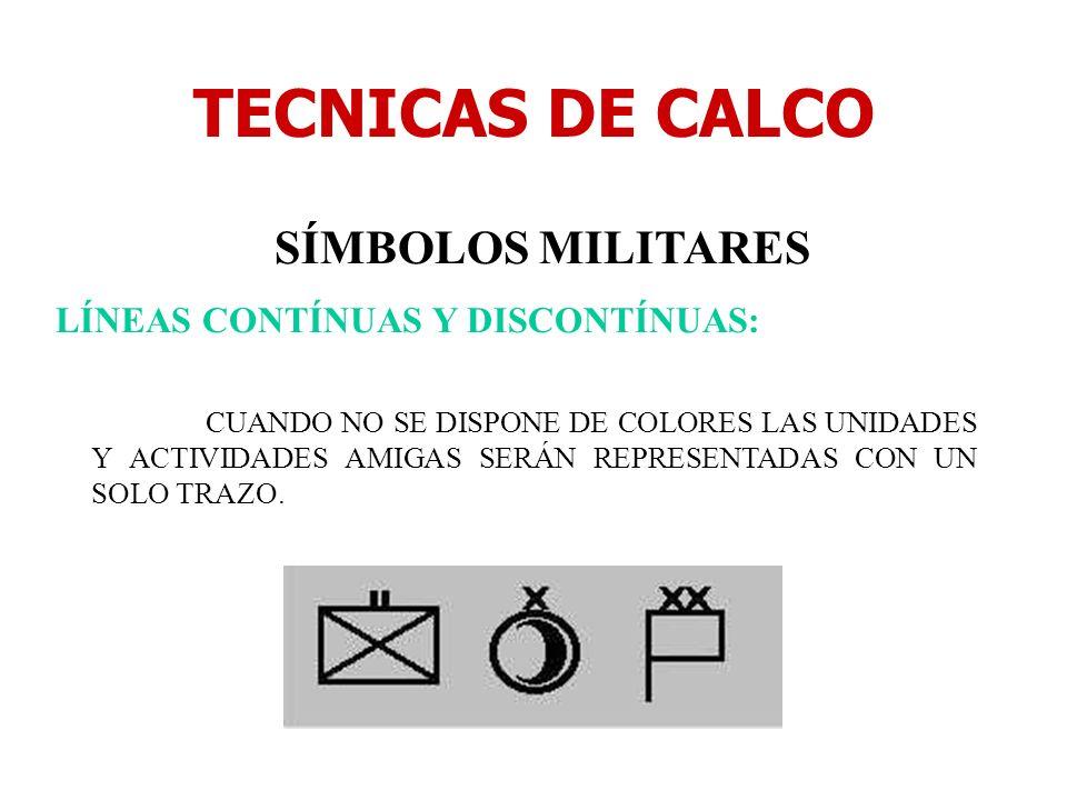 TECNICAS DE CALCO SÍMBOLOS MILITARES LÍNEAS CONTÍNUAS Y DISCONTÍNUAS: CUANDO NO SE DISPONE DE COLORES LAS UNIDADES Y ACTIVIDADES AMIGAS SERÁN REPRESEN