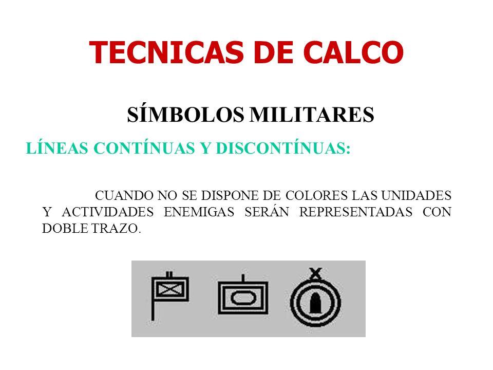 TECNICAS DE CALCO SÍMBOLOS MILITARES LÍNEAS CONTÍNUAS Y DISCONTÍNUAS: CUANDO NO SE DISPONE DE COLORES LAS UNIDADES Y ACTIVIDADES ENEMIGAS SERÁN REPRES
