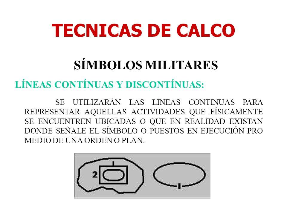 TECNICAS DE CALCO SÍMBOLOS MILITARES LÍNEAS CONTÍNUAS Y DISCONTÍNUAS: SE UTILIZARÁN LAS LÍNEAS CONTINUAS PARA REPRESENTAR AQUELLAS ACTIVIDADES QUE FÍS