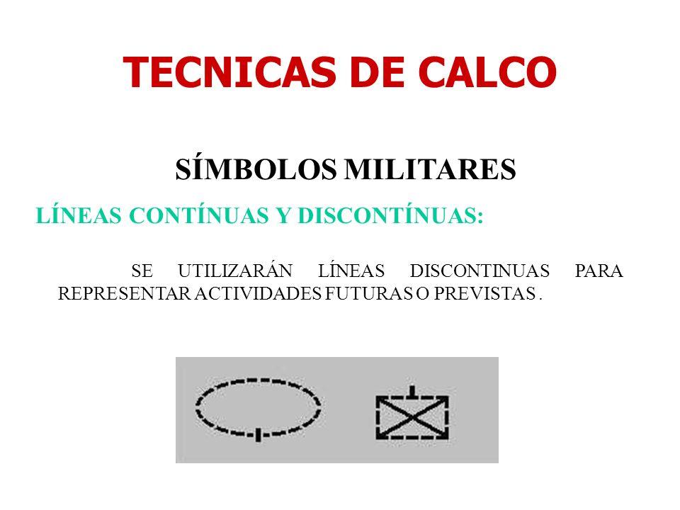 TECNICAS DE CALCO SÍMBOLOS MILITARES LÍNEAS CONTÍNUAS Y DISCONTÍNUAS: SE UTILIZARÁN LÍNEAS DISCONTINUAS PARA REPRESENTAR ACTIVIDADES FUTURAS O PREVIST