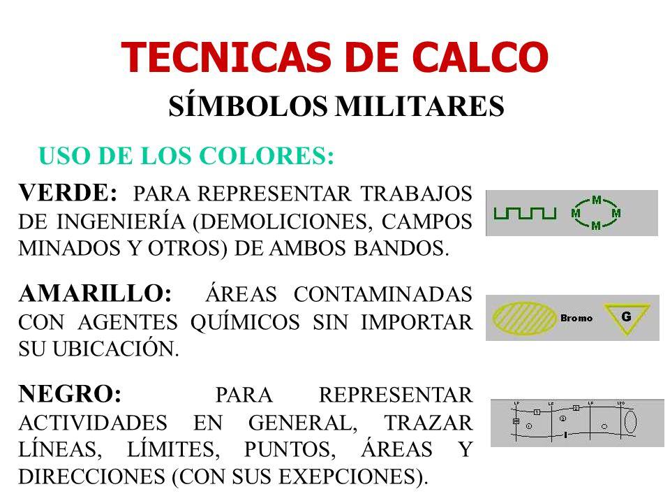 TECNICAS DE CALCO SÍMBOLOS MILITARES USO DE LOS COLORES: VERDE: PARA REPRESENTAR TRABAJOS DE INGENIERÍA (DEMOLICIONES, CAMPOS MINADOS Y OTROS) DE AMBO