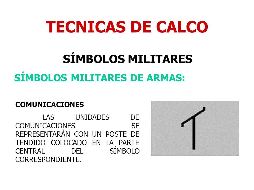 TECNICAS DE CALCO SÍMBOLOS MILITARES SÍMBOLOS MILITARES DE ARMAS: COMUNICACIONES LAS UNIDADES DE COMUNICACIONES SE REPRESENTARÁN CON UN POSTE DE TENDI